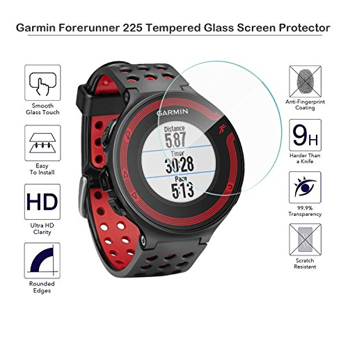 MOTONG Tempered Glass Screen Protector for Garmin forerunner 225 235,9 H Hardness,0.3mm Thickness,Made From Real Glass (For Garmin forerunner 225)