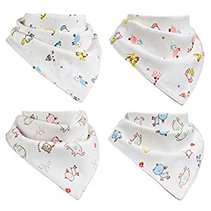 Baby Bandana Drool Bibs by M&Y - 100% Organic Cotton, Extremely Soft & Super-Absorbent - 4-Pack Gift Set, Unisex - Adjustable Snap Closure - Dribble & Teething Bib for Boys & Girls, Infants & Toddlers