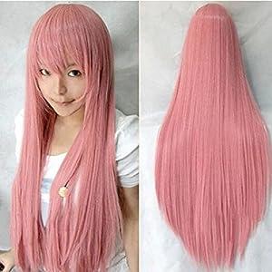 HuaYang Femmes perruque anime cosplay cheveux longue bijoux de cheveux(rose)