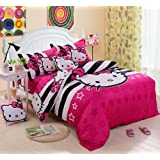 Lt Twin Full Queen Size 4-pieces White and Black Stripe Starry Sky Hello Kitty Toddler Prints Duvet Cover Set/bed Linens/bed Sheet Sets/bedclothes/bedding Sets/bed Sets/bed Covers/5-pieces Comforter Sets/bed in a Bag (4pcs without comforter, Queen)