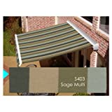 Awntech 14-ft Wide x 10-ft 2-in Projection Sage Multi Striped Slope Patio Retractable Manual Awning