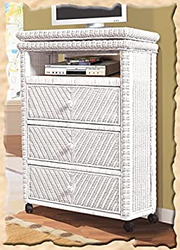 Santa Cruz Rattan and Wicker White Tall TV Stand with Caster Wheels