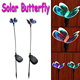 Constructan(TM) 2 X Solar Powered Butterfly Color Changing Outdoor Garden Stake Light Set