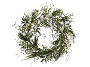 """24"""" Wild Flower Wreath Green Cream (Pack of 2)"""