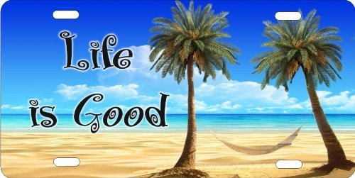 life-is-good-tropical-beach-scene-palm-trees-and-hammock-personalized-novelty-front-license-plate-de