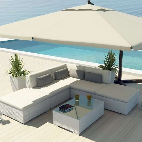 Uduka Outdoor Sectional Patio Furniture White Wicker Sofa Set Porto 6 Off White All Weather Couch image