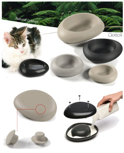 Ciotola cibo e acqua CIOTTOLI per cani e gatti (0.3 litri, Beige)