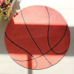 Wolala Home Cartoon Basketball Round Area Rugs Washable Non-slip Rug Super Soft Bedroom Carpet Children Play Solid Home Decorator Floor Rug Boy Child Room Carpet (3\'3x3\'3)