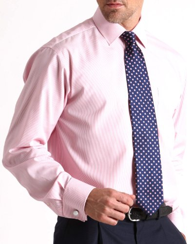 Savile Row Mens Pink Fine Stripe Classic Fit Formal Shirt Neck Size 16