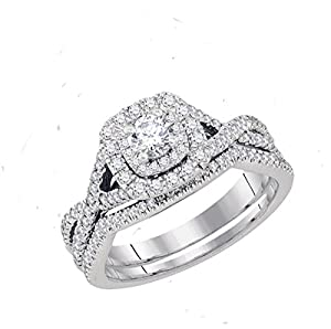 14kt White Gold Womens Natural Diamond Round EGL Certified Bridal Wedding Engagement Ring Set (.75 cttw.)