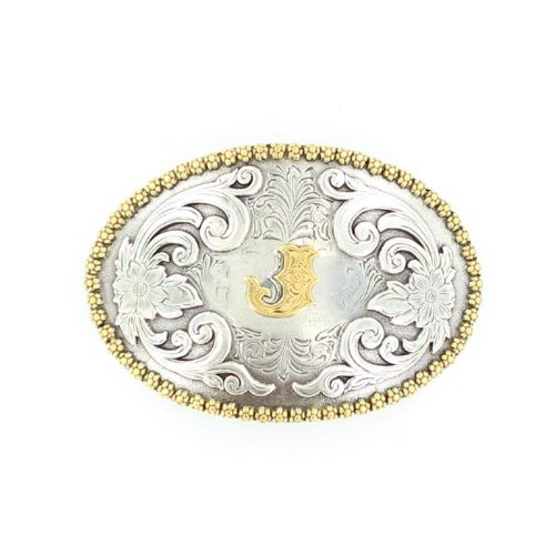 Nocona 37072 Initial Oval Berry Concho Buckle Silver/Gold J One Size