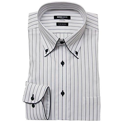 (ミチコロンドン)MICHIKO LONDON ワイシャツ 長袖 形態安定 Yシャツ L(41-84) #83 ホワイト×ブラックストライプ/ボタンダウン・パイピング仕立て