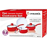 PRIMA Ceramic Coated Cookware Set, Set of 7, Red/ Black