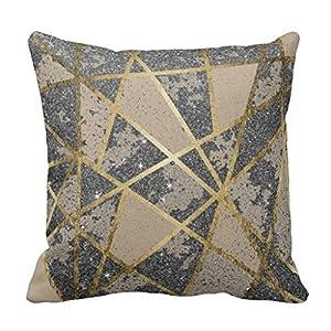 Black Modern Glitter Geo Gold Triangles Throw Pillow Case
