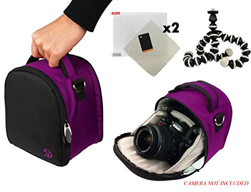 Laurel Travel Camera Bag Case For Olympus Interchangeable Pen E-P5, Pen E-Pl5, Pen E-Pm2 Dslr Camera + Screen Protector + Screen Protector + Mini Tripod