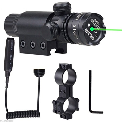 New Shockproof 532nm Tactical Green Dot Laser Sight Rifle Gun Scope with Rail and Barrel Mount Cap P...