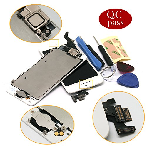 For Iphone 5 5G White Full Set With Spare Parts Lcd Screen Replacement Digitizer With Home Button, Bracket, Flex, Sensor, Front Camera, Frame Housing Assembly Display Touch Panel + Free Repair Tool Kits [Ships From Usa]