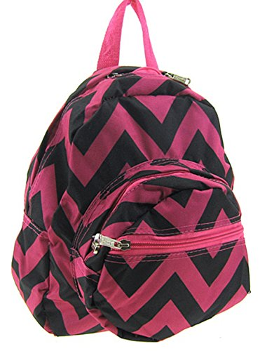 Chevron Small Kids Backpack Toddler Bag Purse (Fuchsia Black)