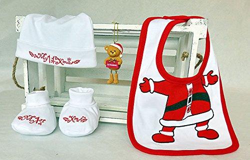 """Bambino Primo Natale Confezione Regalo, morbido cotone bianco e rosso """"Natale Cappello e stivaletti, in cotone 100%, con bavaglino, decorazione albero di Natale per bambino, confezione regalo e Natale Tag"""