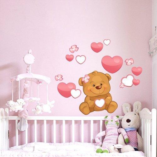R00224 adesivo murale per bambini wall art   orsetto cuori e fiori ...