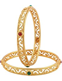 Jewels Galaxy Exclusive Gold Plated Circular Shaped Red Green Stone Bangles For Women - Set Of 2