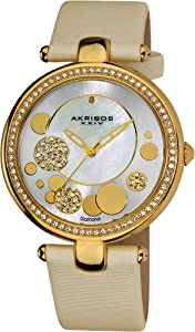 Akribos XXIV Women's AKR434WT Diamond Silver Sunray Diamond Dial Quartz Strap Watch