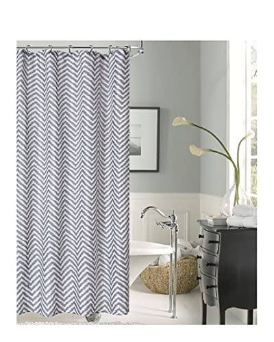 Dainty Home Riviera Shower Curtain, Charcoal