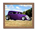 Vintage 1932 Ford Coupe Custom Car Automobile Wall Picture Oak Framed Art Print