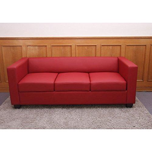 3er sofa couch loungesofa lille leder rot. Black Bedroom Furniture Sets. Home Design Ideas