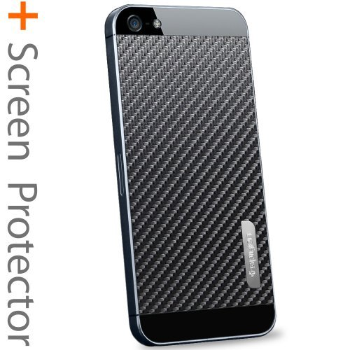 Great Price SPIGEN SGP iPhone 5 Skin Decal Steinheil [Skin Guard] [Carbon Black] Sticker Protector Anti Fingerprint Matte [2-PACK] + Clear Front and Back Protector Steinheil + Metal Sticker for the NEW iPhone 5S and iPhone 5 - Carbon Black