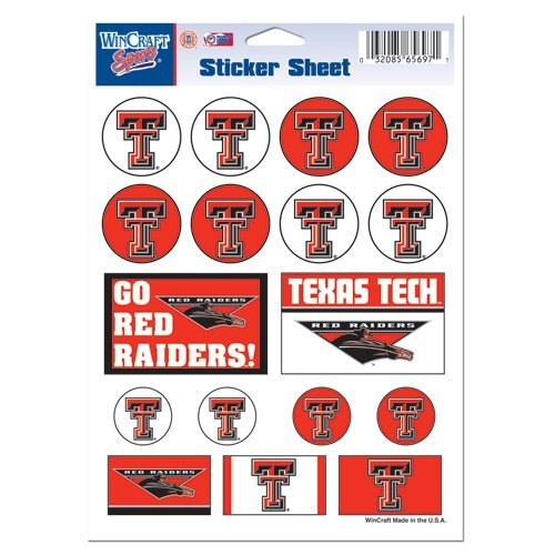 Texas Tech University Sticker Sheet 5x7