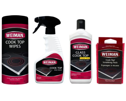 Weiman Glass & Ceramic Cook Top Cleaner, Polish, Wipes & Pads - 4pc Kit (Weiman Glass Cooktop Pads compare prices)