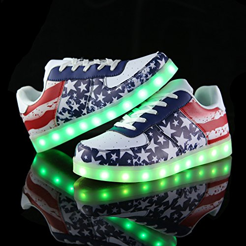 Acever Colors Changing Led Shoes Flashing Sneakers Usb Charging Led Lighted Luminous Couple Casual Shoes Men'S And Women'S Led Shoes Led Sneakers Christmas Cosplay Halloween Party Rave Party Valentine'S Day Gift Sports Shoes Prom Party Shoes (Us75-Women)