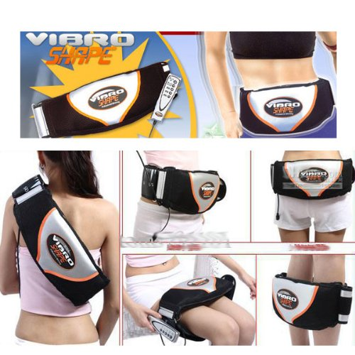 Chialstar Waist & Hip Trimmer Body Shaper Sauna Belt Vibrator (Black+White)