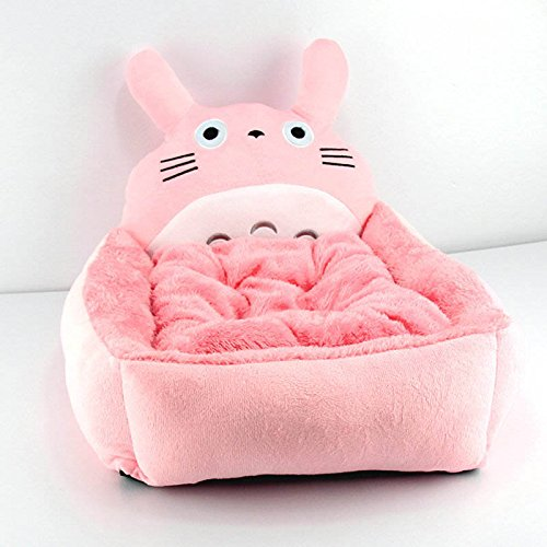 Cartoon Plush Pet Bed Soft Cotton Dog Cat Bed Totoro Pink (M(45*35*15cm))