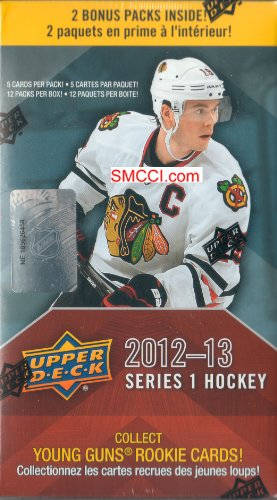 2012 2013 Upper Deck NHL Hockey Series One Unopened Blaster Box That Contains 12 Packs with 5 Cards Per Pack Chance At a Ton of Different Cards Including Stars Shortprinted Young Guns Rookie Cards Hockey Heroes Game Used Jersey Memorabilia Cards and More