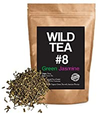 Organic Green Tea with Jasmine, Wild Tea #8 Premium Loose Leaf Green Jasmine Tea (4 ounce)