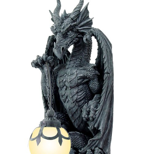 Mystical Stone Castle Dragon Sculptural Eletric Wall Sconce Home Decor 26 H