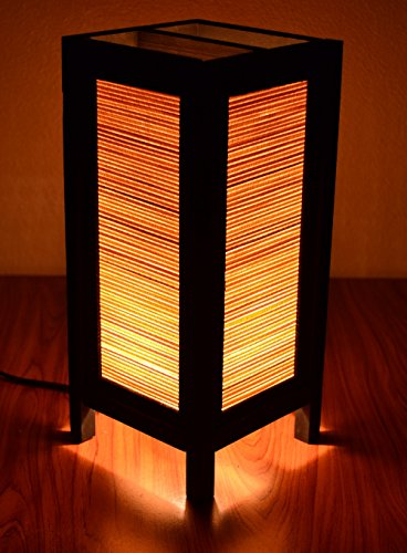 Decorative Lamp Thai Vintage Handmade Asian Oriental Original Bamboo Blind Bedside Table Light Floor Wood Paper Lamp Shades Home Bedroom Garden Decoration Modern Design (Square Glass Small Lamp compare prices)