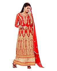 Maruti Suit Women's Faux Georgette Suit Material (16003, Red, Free Size)