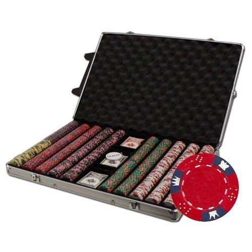 Brybelly 1000-Count Crown And Dice Poker Chip Set In Rolling Aluminum Case, 14Gm