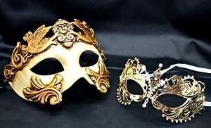 Couple Lover Mask Gold Egyptian + Gold Extravagant Mardi Gras Venetian Halloween Ball Prom Masquerade Mask