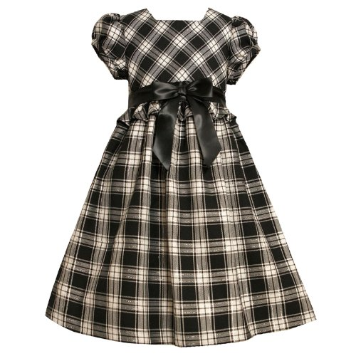 Size-6X,BNJ-5067B BLACK WHITE METALLIC SILVER PLAID BOW FRONT RUFFLE WAIST Special Occasion Flower Girl Holiday Party Dress,B35067 Bonnie Jean LITTLE GIRLS