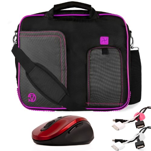 PURPLE Orderly BLACK Pindar Durable Water-Rebellious Nylon Protective Carrying Case Envoy Shoulder Bag For Sony Vaio Y Series 11-inch Notebook Netbook + Dead white Cable Organizer + Pink Cable Organizer + Red Wireless Laser 2.4Ghz Mouse w/ BACK and Send o