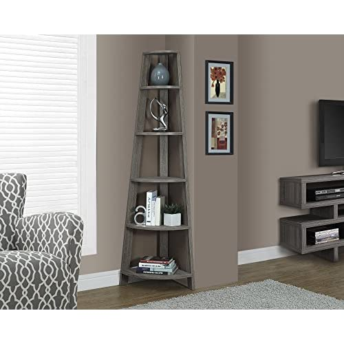 Monarch Specialties Dark Taupe Reclaimed-Look Corner Accent Etagere, 72-Inch
