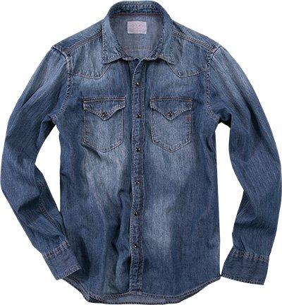 Replay -  Camicia Casual  - Classico  - Maniche lunghe  - Uomo blu Medium