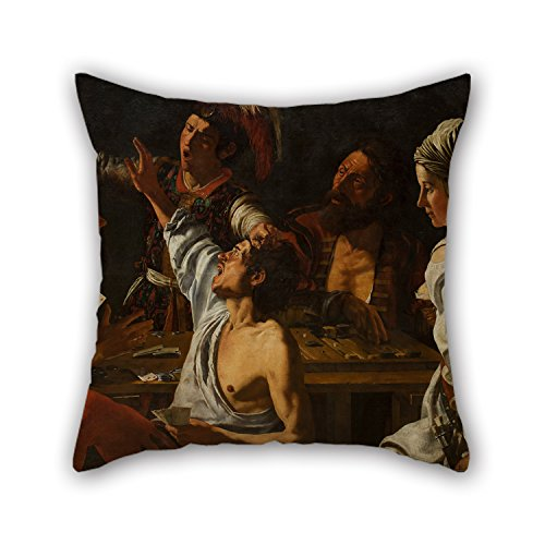 Uloveme Oil Painting Theodoor Rombouts - Card And Backgammon Players. Fight Over Cards Pillow Covers 20 X 20 Inches /