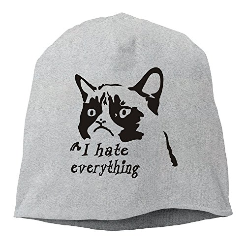 STUAOTO Grumpy Cat Hate Everything NO Beanie Cap Ash
