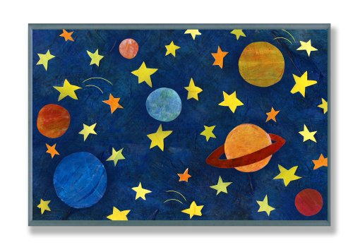 The Kids Room by Stupell Planets and Stars Rectangle Wall Plaque - 1