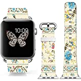 Iwatch Band 42mm Leather,boys Men Apple Iwatch Sport Genuine Leather Strap Beautiful Colorful Elegant Blue Rose...